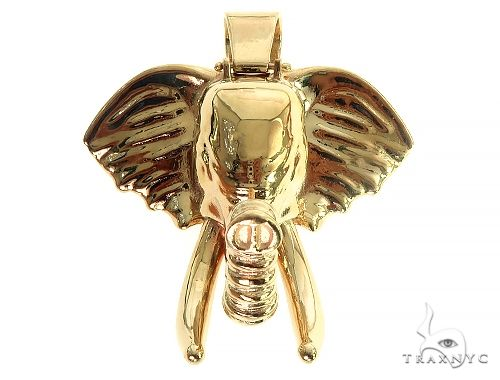 14K Gold Elephant Pendant Metal