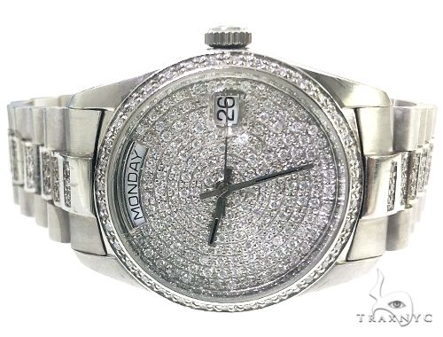 14k White Gold 36mm Automatic Diamond DayDate Geneve Watch 66360 Special Watches