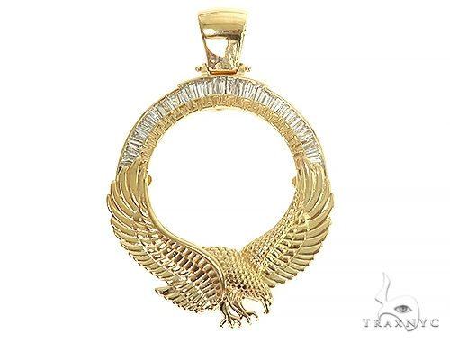 18K Gold Eagle Coin Frame Baguette Diamond Pendant 66361 Metal