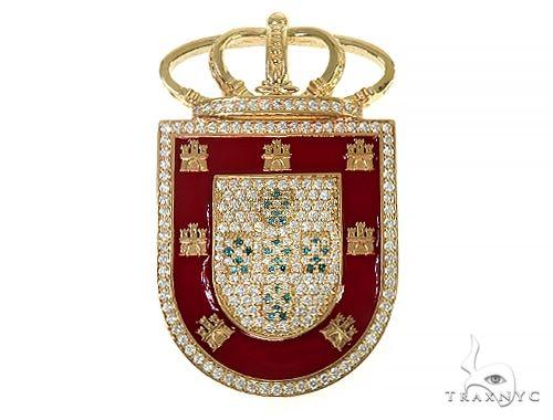 14K Gold Portugal Flag Emblem Diamond Pendant Metal