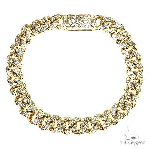 14K Gold Miami Cuban Diamond Bracelet 66389 Diamond