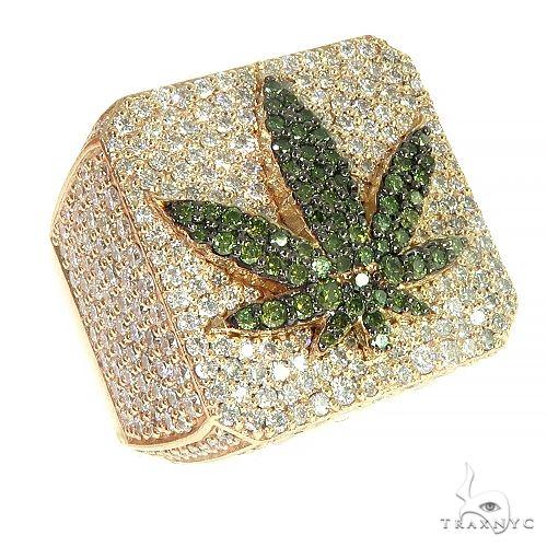 Custom Made Weed Leaf Diamond Ring 66398 Metal