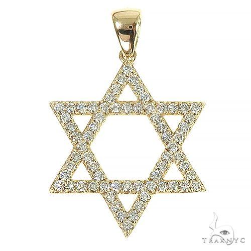 14K Gold David Star Diamond Pendant 66401 Stone