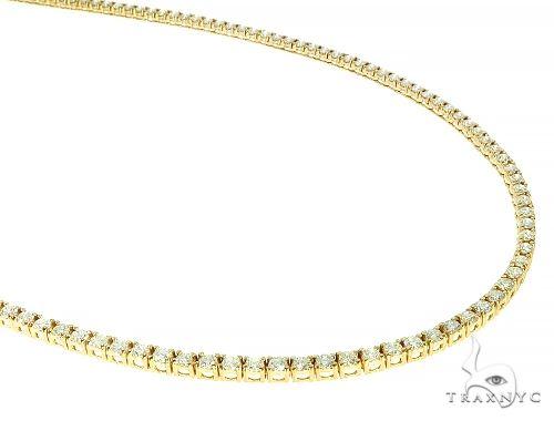 14K Yellow Gold Diamond Tennis Chain 18 Inches 2.5mm 7.23ct 19.40 Grams 66403 Diamond
