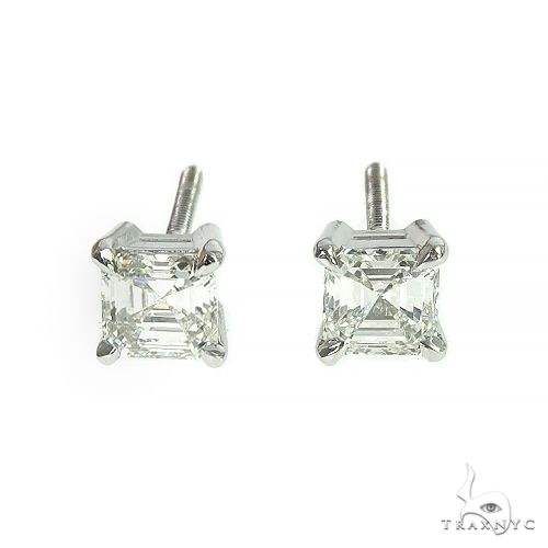 Asscher Cut Diamond Stud Earrings 66404 Stone