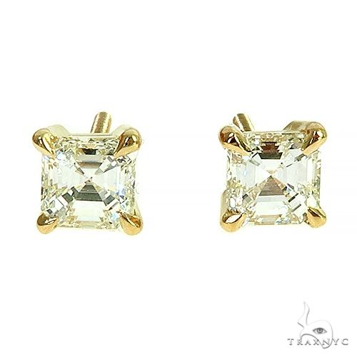 Asscher Cut Diamond Stud Earrings 66405 Stone