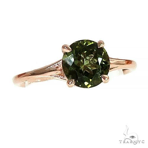 14K Gold Green Tourmaline Solitaire Engagement Ring 66429 Stone