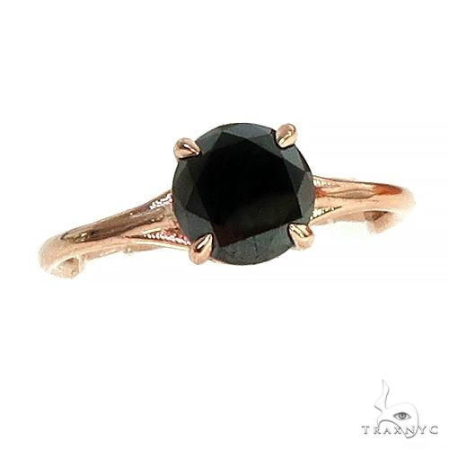 14K Gold Black Diamond Solitaire Engagement Ring 66431 Engagement