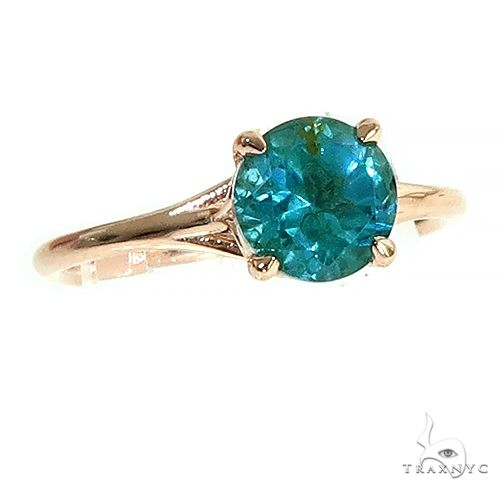 14K Gold Blue Topaz Solitarie Engagement Ring 66433 Engagement