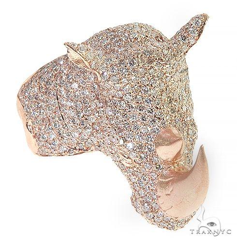 14K Gold Diamond Rhino Ring 66439 Stone
