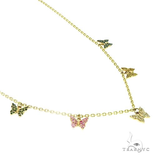14K Gold Diamond Butterfly Necklace 66445 Diamond