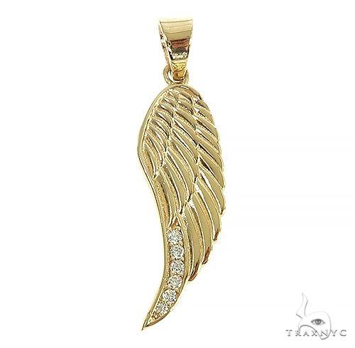 14K Gold Diamond Half Angel Wing 66449 Metal