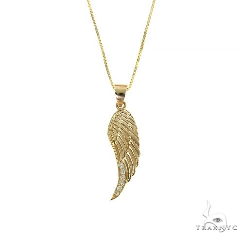14K Gold Diamond Half Angel Wing Set 66450 Metal