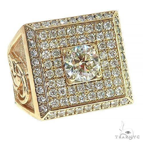 Custom Made 14K Gold Men Diamond Ring 66452 Stone