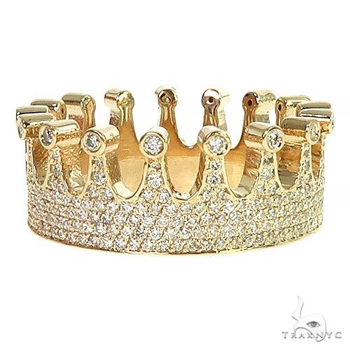 14k Gold Custom Made Crown Diamond Ring 66454 Stone