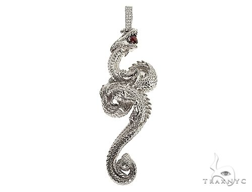 .925 Silver Fully 3D Dragon Pendant 66460 Metal