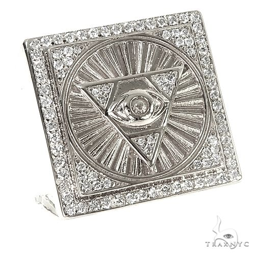 .925 Silver Diamond Pyramid Evil Eye TraxNYC  Ring 66461 Metal