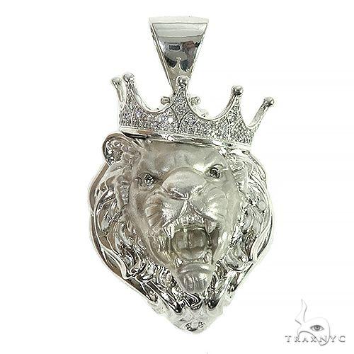 .925 Silver Diamond Lion Head Pendant 66464 Metal