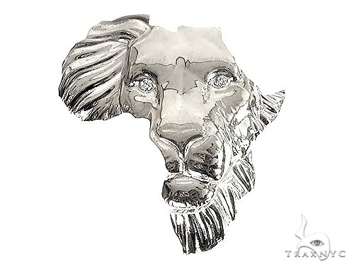 .925 Silver Medium African Lion Face Pendant 66467 66468 Metal