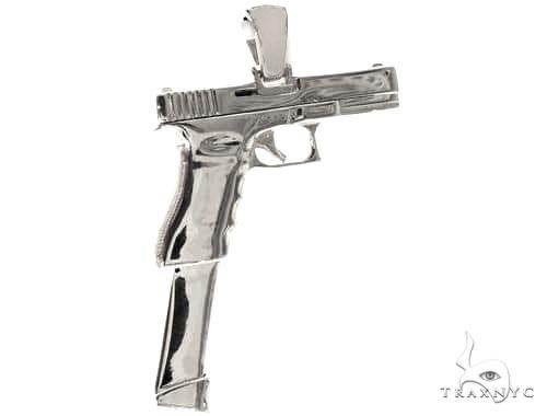 .925 Silver Gun Pendant 66466 Metal