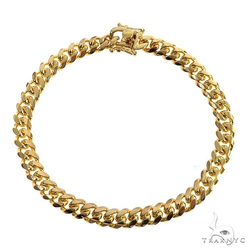 14K Yellow Gold Solid Miami Cuban Link Bracelet 8.5 Inches 7mm 33.5 Grams 66418 Gold