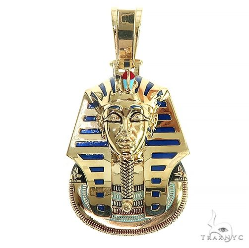 14K Gold Medium Custom Pharaoh King Tut Pendant 66471 Metal