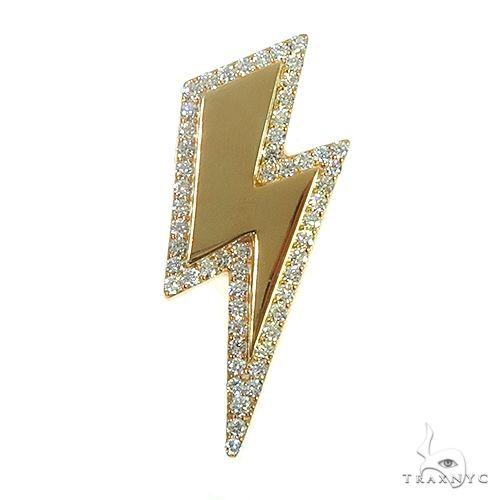 Custom Made Diamond Gold Plated Silver Lightning Pendant 66532 Metal