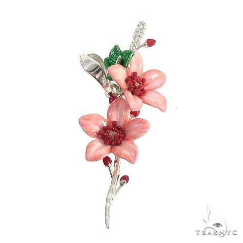 Custom Made Silver Cherry Blossom Pendant 66540 Metal