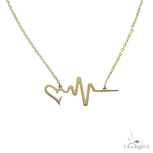 14K Gold Heart Beat Necklace 66541 Gold