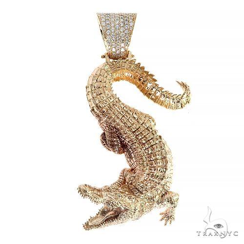TraxNYC Alligator Solid Gold Pendant 66546 Metal