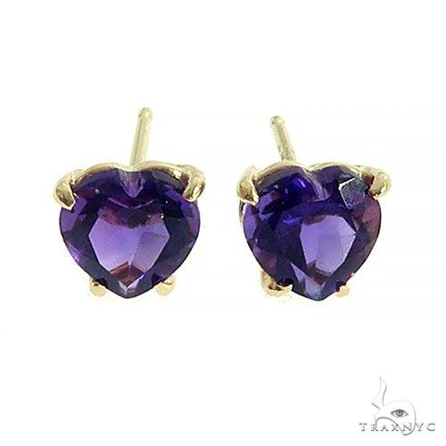 14K Gold Heart Shape Amethyst Earrings 66550 10k, 14k, 18k Gold Earrings