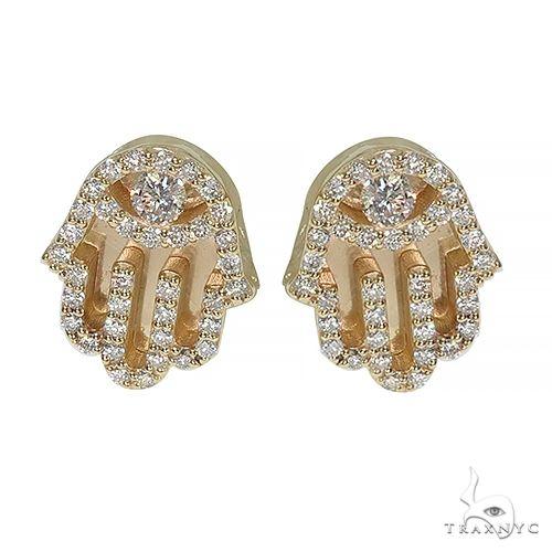 10K Gold Hamsa Diamond Earring 66552 Stone