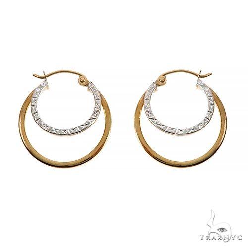 14K TwoTone Gold Double Hoops Earrings 66555 Metal