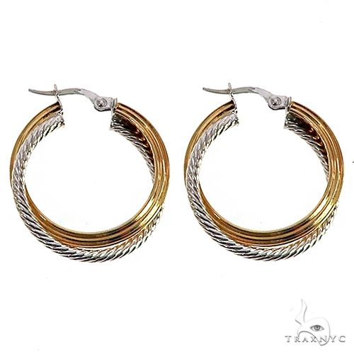 14K TwoTone Gold Double Twisted Hoops 66556 Metal