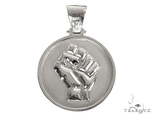 Custom Made Solid Gold People Power BLM Pendant 66579 Metal