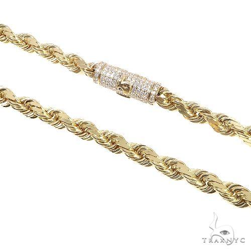 14K Gold Diamond Cut Rope Chain With Custom Made TraxNYC Diamond Logo Lock 20Inches 8mm 110.50Gr 66588 Diamond