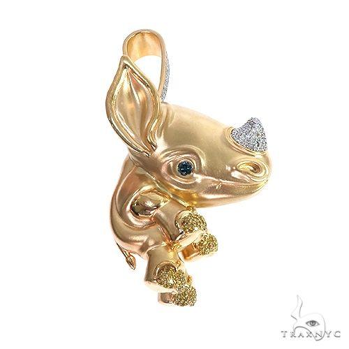 18K Gold Custom Made Baby Rhino Pendant 66589 Metal