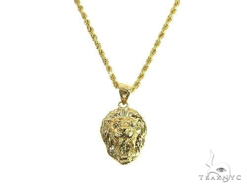 10K Yellow Gold Lion Head Pendant Set 66591 Metal