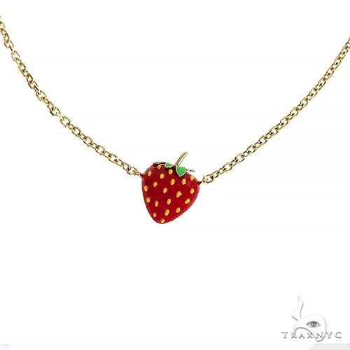 14K Gold Strawberry Choker Necklace 66594 Gold