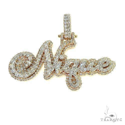 Custom Made Diamond Name Pendant 66598 Metal