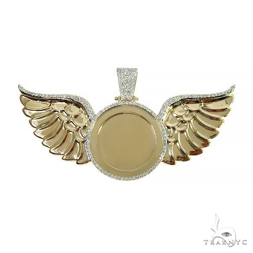 14K Gold Memorial Photo Pendant With Wings 66601 Metal