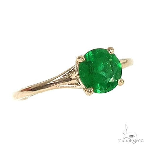 14K Gold Emerald Solitaire Engagement Ring 66603 Stone