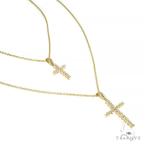 14K Gold Double Cross Necklace 66609 Diamond