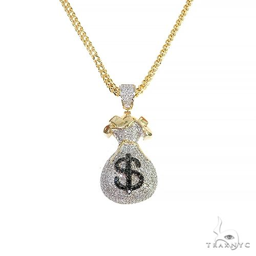 10K Yellow Gold Micro Pave Diamond Money Bag Dollar Sign Charm Pendant Franco Chain Set 66611 Metal