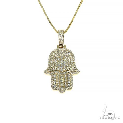 14K Yellow Gold Diamond Hamsa Pendant Set 66613 Metal
