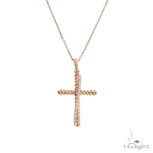 14K Yellow Gold Twisted  Diamond Rope Cross Pendant Set 66615 Diamond