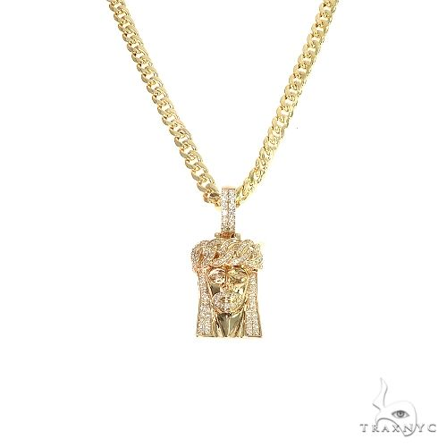 14k Gold Diamond Cuban Link Crown Jesus Pendant 66618 Style