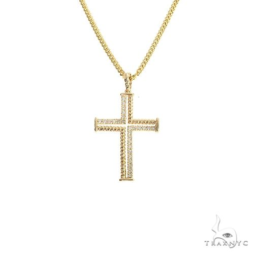 14K Gold Diamond Rope Cross Set 66619 Diamond