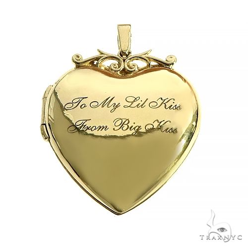 14K Gold Heart Locket Photo Pendant 66631 Metal