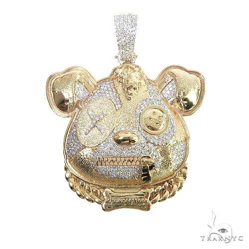 Custom Made 14K Gold Misunderstood Bear Diamond Pendant 66637 Metal